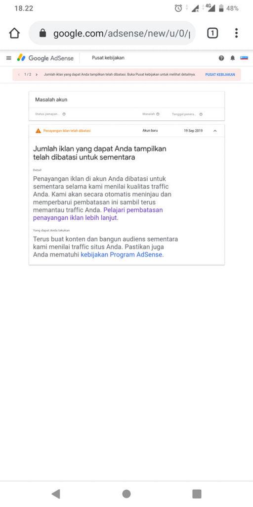 penayangan iklan google adsense yang dibatasi