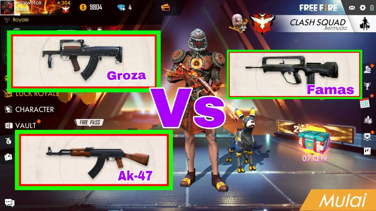 Free Fire Indonesia – Senjata Famas Vs Groza Vs AK-47 Bagus Mana ?
